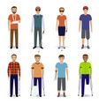group of eight different kind disability people vector image