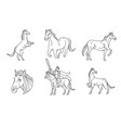 horse line sign and symbol vector image