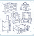 icons set hand drawn suitcase bag and backpack vector image