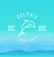 logo with thin line icon of dolphin jumping vector image