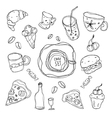 Set of simple sketches on the theme of the cafe vector image