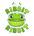cute t shirt print for kids with frog face vector image