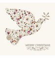 Vintage Christmas peace dove greeting card vector image