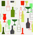 alcohol bottles and glasses pattern vector image