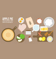 apple pie and ingredients vector image