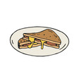 cheese and ham sandwich in vector image