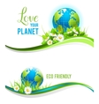 Eco banners and globe vector image