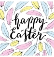 Happy Easter card template Hand lettering vector image