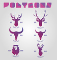 Polygonal hipster logo with heads of deer buffalo vector image