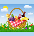 Wicker picnic basket full of products vector image