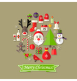Christmas Ball Flat Icons Set with Santa Claus vector image