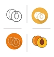 Apricot flat design linear and color icons set vector image
