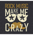 Rock music make me crazy Sunglasses with stars and vector image