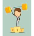 Businesswoman solves lightly every weight work vector image