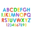 Cheerful colorful alphabet typography set vector image