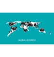 flat of business people standing on the world vector image