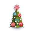 flat paper cut christmas tree decoration element vector image