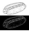 hot dog outline sketch vector image