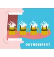 Oktoberfest poster Drinking many mug of beer Man vector image