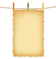 Old paper background and clothes pins with rope vector image