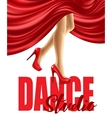 Poster for the dance studio with female legs in vector image