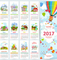 Calendar for 2017 with set of colorful towns vector image