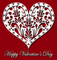 Valentine card with white lace heart vector image vector image