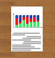document with 3d chart vector image