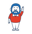 man cartoon standing casual clothes character vector image