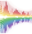 Rainbow warped digital equalizer on white vector image