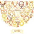 Awards and trophy sport or business line icons vector image vector image