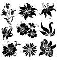 set of black flower design elements set vector image vector image