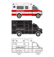 ambulance car in three different styles color vector image