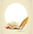 Background with old book and feather vector image