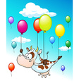 funny design with flying cow with balloons on blue vector image