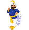 Giant in blue outfit coming out of the lamp vector image