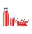 glass cup bottle splash drop of juice vector image