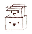 kawaii cardboard boxes stacked in monochrome vector image