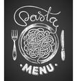 Pasta menu drawn on chalkboard vector image