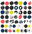Set of 50 grungy artistic circles vector image