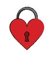 cartoon padlock shaped heart loved vector image