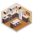 kitchen modern interior isometric composition vector image vector image