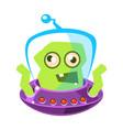 furious green alien cute cartoon monster vector image