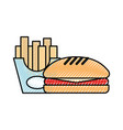 delicious burger with french fries vector image