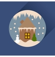 Flat web icon with long shadow house in snow globe vector image