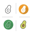Avocado flat design linear and color icons set vector image