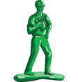 Green Construction Worker Nailgun Retro vector image