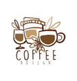 coffee hand drawn logo design with mugs and paper vector image