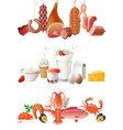 Milk meat and fish borders vector image