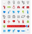 Set of family stickers vector image